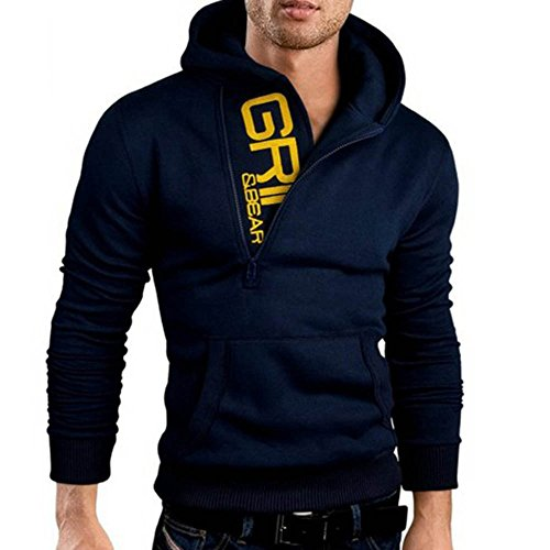 Ratoop Mens Hoodies, Fashion Cotton Letter Print Hooded Sweatshirt Solid Pullover Long Sleeve Blouse Zipper Pocket Shirt Tops (Navy, L)