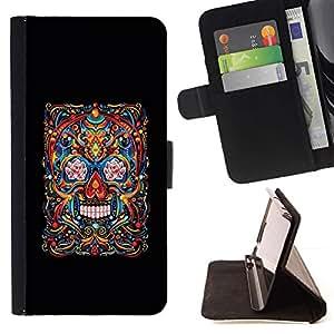 Momo Phone Case / Flip Funda de Cuero Case Cover - Cráneo Vida Muerte Negro Arte floral de primavera - Apple Iphone 5 / 5S