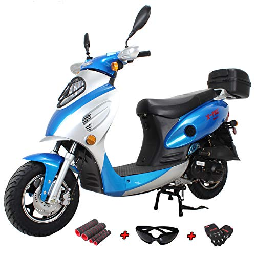X-PRO 50cc Street Legal Automatic Moped Scooter with Gloves, Goggle and Handgrip,Blue reviews