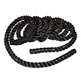 AyaMastro 30FT Black 1.5'' Poly Dacron Battle Rope Workout Training Exerdcise with Ebook