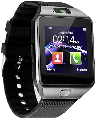 Smart Watch - Sazooy DZ09 Bluetooth Smartwatch Touch Screen Sport Smart Wrist Watch Fitness Tracker Pedometer with SIM SD Card Slot Compatible Samsung iOS Android for Women Men & Kids (Black)