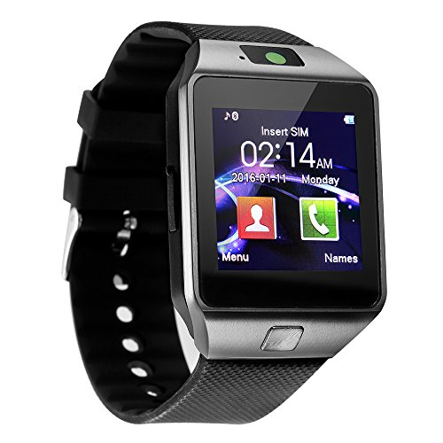 Aeifond Smart Watch - DZ09 Touchscreen Bluetooth Smartwatch Wrist Watch Fitness Tracker with Camera Pedometer SIM TF Card Slot Compatible Samsung Android iPhone iOS Women Kids Men (Black) (Bluetooth Wrist Pedometer)