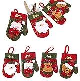 handrong 8pcs Christmas Silverware Holder Pockets Santa Claus Snowman Bear Deer Tableware Cutlery Bags Party Favor Xmas Eve Decoration