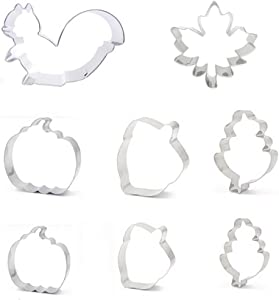 Emoly 8Pcs Large Fall Thanksgiving Cookie Cutter Set - Pumpkin, Maple,Oak Leaf, Squirrel and Acorn - Stainless Steel