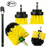 5 Pieces Different Size Cleaning Supplies Drill Brush Attachment Kit With 6 Inch Extender Power Scrubber/Toilet Brush/Bathroom Shower Cleaner/Grout Cleaner/Scrub Brush/Tub and Floor Scrubber