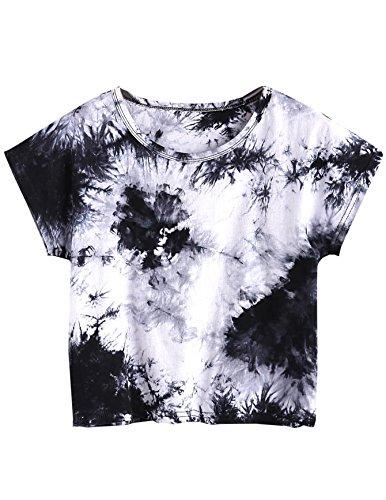 SweatyRocks Womens Tie Dye Letter Print Crop Top T Shirt,Multicolor 5,Large =M ()
