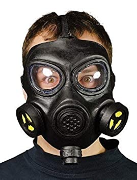 Hombre Adulto Ww2 Negro Máscara de gas Disfraz Halloween Accesorio
