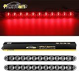 "Partsam 2pcs 15"" Clear Lens Red 11 LED Flange Mount Trailer Truck Stop Turn Tail Light Brake Warning Light ID Bar"