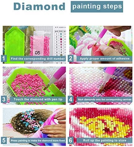 5D Full Drill Diamond Painting Kits for Adults Diamond Art Paint with Round Diamonds DIY Paint via Number Kits Gem Art Craft with Crystal Rhinestone Embroidery (13.7x17.7 inch/35x45cm)