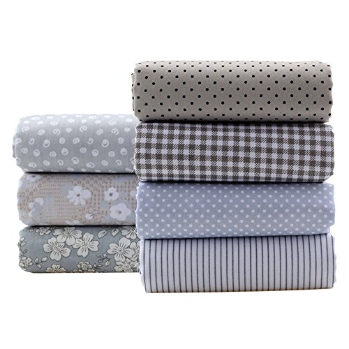 Gray Series Cotton Fabric Quilting Patchwork Fabric Fat Quarter Bundles Fabric For Sewing DIY Crafts Handmade Bags Pillows 40X50cm 7pcs/lot (As Picture Shown)