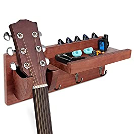 DALUZ Guitar Wall Hanger, Guitar Stand with Storage Shelf and 3 Metal Hook, Guitar Wood Hanging Rack for Electric Guitar…
