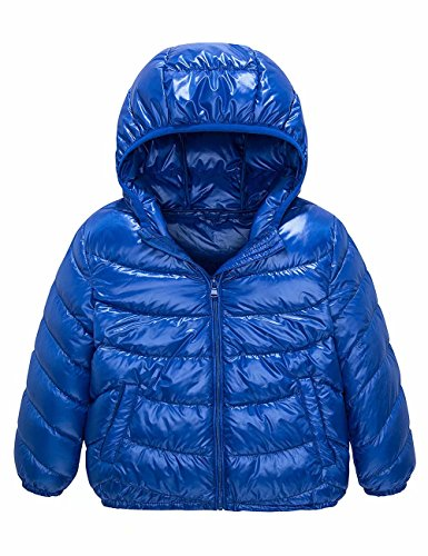 Spring&Gege Boys' Quilted Packable Hoodie Lightweight Puffer Jacket Windproof Outwear Children Warm Duck Down Coat for Boys and Girls Size 4-5 Years Blue by Spring&Gege