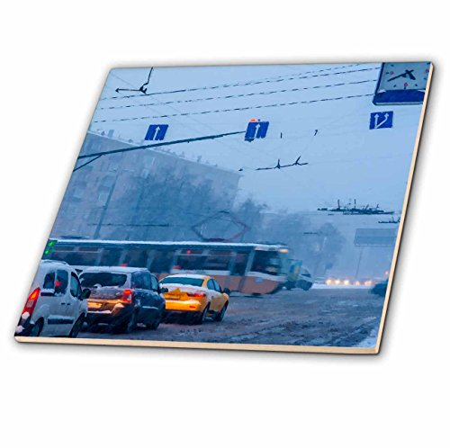 3dRose Alexis Photo-Art - Moscow City - Moscow Leninsky avenue in a winter snowstorm - 8 Inch Ceramic Tile (ct_272054_3)