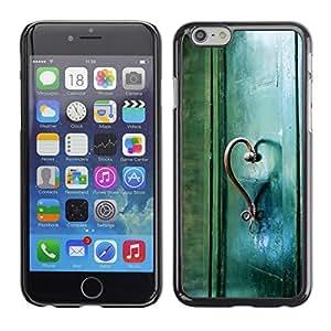 PC/Aluminum Funda Carcasa protectora para Apple Iphone 6 Plus 5.5 Teal Heart Door Photo Beautiful Meaning / JUSTGO PHONE PROTECTOR