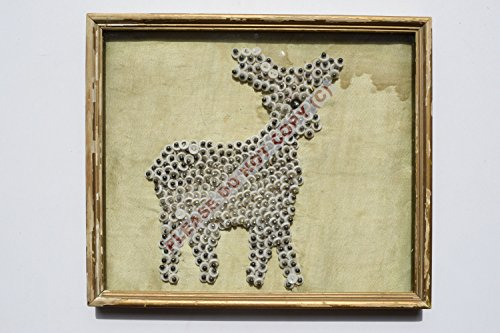 Rare Collectible Antique Old Collectible Handmade Craft Deer in Vintage Old Wooden Frame - Vintage India Frames
