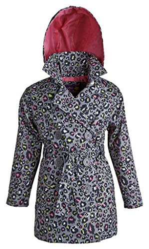 Pink Platinum Girls Double Breasted Belted Leopard Spring Trench Coat Jacket - Black (Size 5/6) Leopard Trench