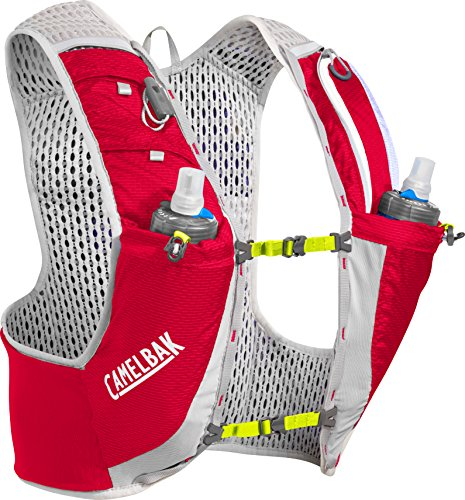 CamelBak Ultra Pro Vest 17 oz Quick Stow Flask Hydration Pack, Medium, Crimson Red/Lime Punch