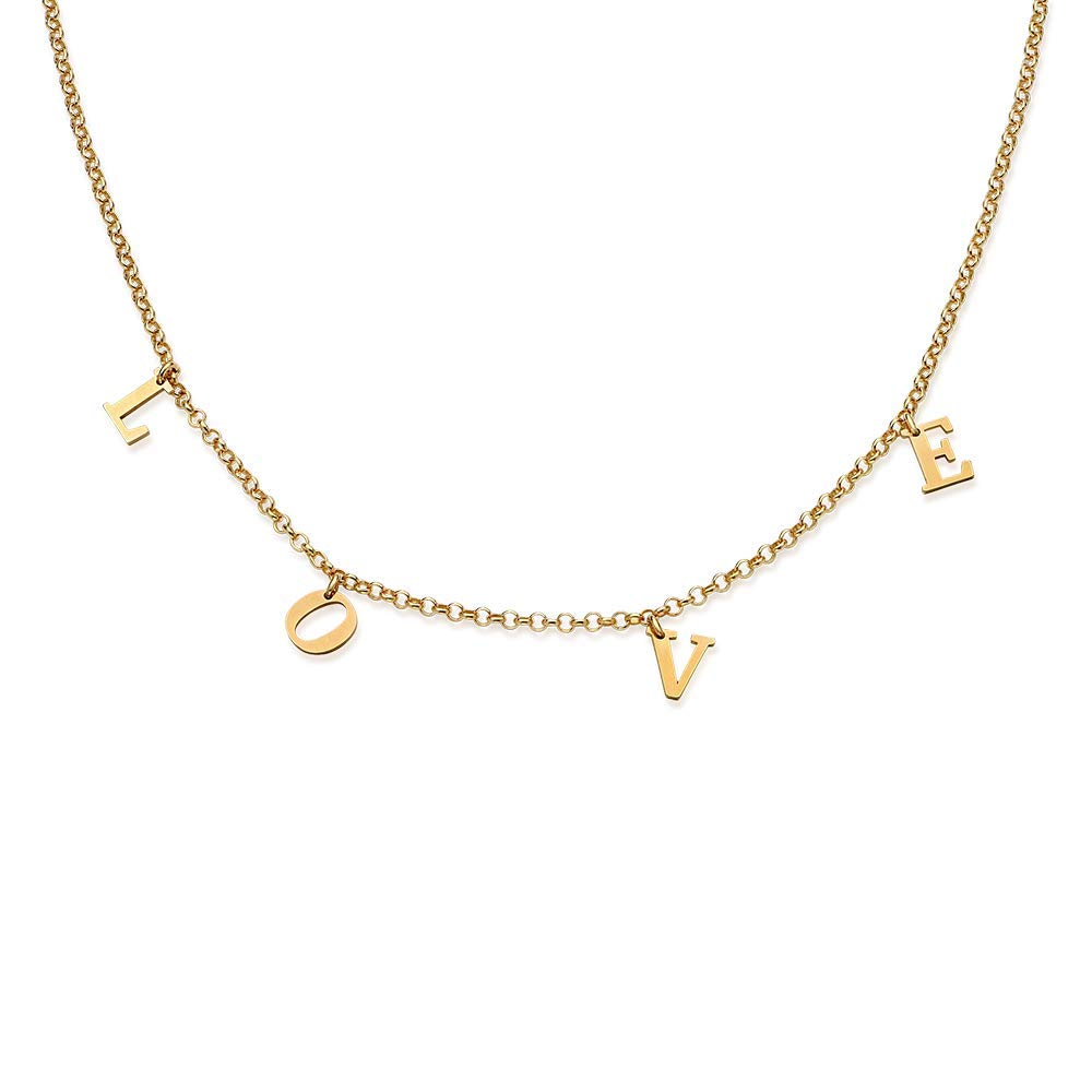 Personalized Choker Necklace with Hanging Name-Custom Made Gold Plating Jewelry Gift