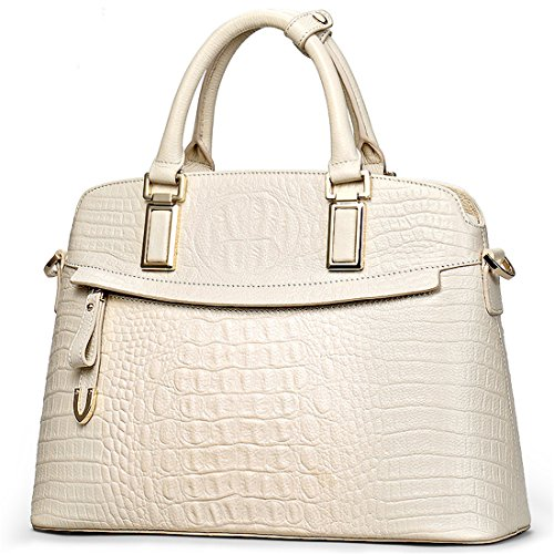 Genuine Leather Top-handle Handbags Embossed Crocodile【Full-grain Cowhide】Totes Satchels Bag for Women