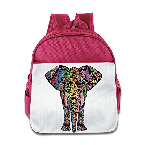 (XJBD Custom Cool Colorful Pattern Elephant Boys And Girls School Bagpack Bag For 1-6 Years Old Pink)