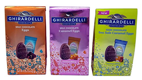 (Ghirardelli Chocolate Eggs Easter Candy Sampler of 3 Bags - Milk Chocolate, Milk Chocolate Caramel, and Dark Chocolate Sea Salt Caramel, (Easter Sampler, 3 Bags))