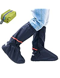 AMARS (TM) Thicken PVC Reusable Zippered Women Men High Boots Waterproof Shoes Cover Winter Warm Snow Proof Shoes Covers Slip-resistant Wear-resistant Foldable Shoes Cover For Mortocycle Garden Hiking Camping Climbing Outdoor Activities With Multifunctional Shoes Cover Space Saver Travel Bag