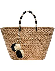 Straw Bag Handmade Beach Handbag Summer Bag Lightweight With Balls