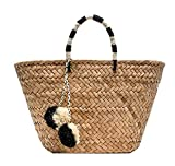 Straw Bag Handmade Beach Handbag Summer Bag Lightweight With Balls