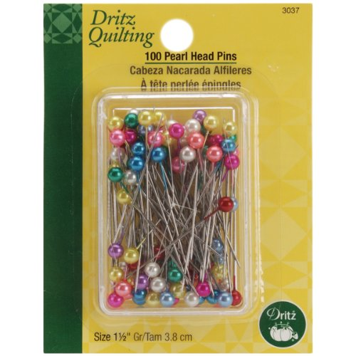 - Dritz Quilting 3037 Pearlized Pins, Multi Color, 100 Count