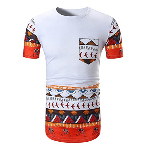 Price comparison product image Caopixx Tops for Men,  Men Summer Casual African Print Mens Tank Tops O Neck Pullover Short Sleeve T-Shirt Tee (Asia Size M,  White)