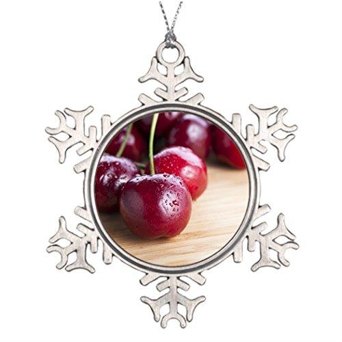 (SMALL Poppy Personalised Christmas Tree Decoration Cherries on Cutting Board Xmas Tree)
