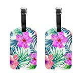Set of 2 Luggage Tags Tropical Hawaii Flowers Suitcase Labels Travel Accessories