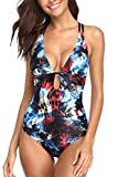 Sociala Women Deep Plunge One Piece Swimsuit Lace-up Back Monokini Bathing Suit