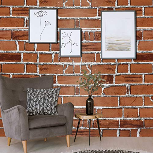Poualss Red Brick Wallpaper 3D Self Adhesive Wall Decoration Waterproof Wallpaper for Living Room Bedroom Kitchen Background 18inch by 16 Feet