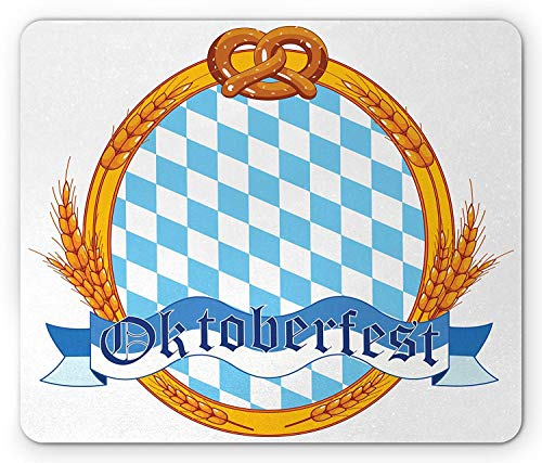 Oktoberfest Mouse Pad, Oktoberfest Theme Oval Framework with Wheat Stems Ribbon and Pretzels, Standard Size Rectangle Non-Slip Rubber Mousepad, Orange and Blue,8.66 x 7.08 x 0.118 Inches ()