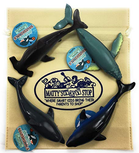 Toysmith Ocean Squishimals Shark, Dolphin, Humpback Whale & Hammerhead Shark Gift Set Bundle Bonus Matty's Toy Stop Storage Bag - 4 Pack ()