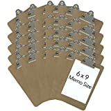 Trade Quest Memo Size 6'' x 9'' Clipboards Standard Clip Hardboard (Pack of 30) (Pen Not Included - for Scale Only)