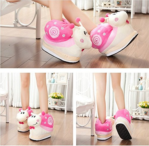 Warm Slipers Winter Plush Soft Snail Cute Cartoon Shoes Slippers Pink rOUqr