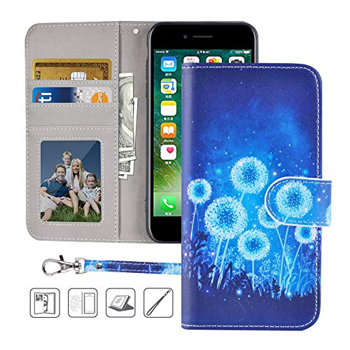 iPhone 8 Wallet Case,iPhone 7 Wallet Case,MagicSky Premium PU Leather Flip Folio Case Cover with Wrist Strap,Card Slots,Cash Pocket,Kickstand for Apple iPhone 8/iPhone 7 4.7 inch(Dandelion)