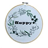 ADCorner DIY Embroidery Starter Kit Pre Printed Hand Needlework Pattern Fabric including 8'' Bamboo Embroidery Hoop Color Threads Floral Wedding Decorations DIY (Not for beginner)