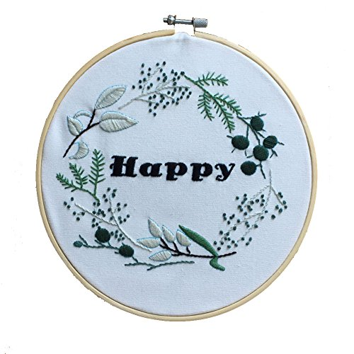 ADCorner DIY Embroidery Starter Kit Pre Printed Hand Needlework Pattern Fabric including 8'' Bamboo Embroidery Hoop Color Threads Floral Wedding Decorations DIY (Not for beginner) by ADCorner