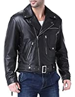 Airborne Leathers Men's Vintage Cow Leather Motorcycle Jacket