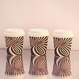 Espresso Disposable Paper Cups with Unique Design for Espresso Enthusiast. (4oz cups & Lids)