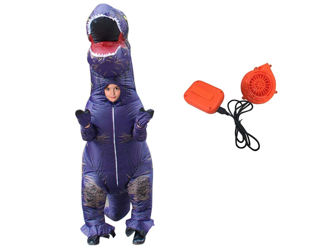 Youland Inflatable Dinosaur Costume for Adult Kids and Toddler Halloween Christmas Dinosaur Costume (12. Purple Kid)