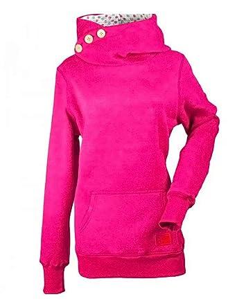 2f5da6fb97aaa Frecoccialo Sweat Femme à Doublure Imprimée dans la Capuche Col Montant  Doté 3 Boutons à Manches Longues Sweat-Shirt Top Chiné Taille Grande   Amazon.fr  ...