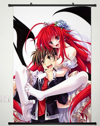 Wall Scroll Poster Fabric Painting For Anime High School DxD New Rias Gremory & Hyoudou Issei 086 L