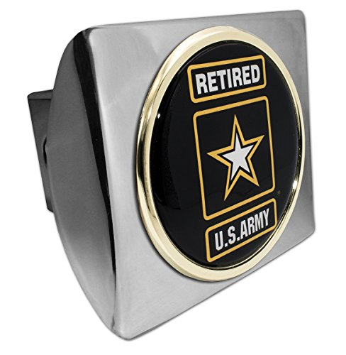 Elektroplate Army Retired Emblem on Chrome Hitch Cover