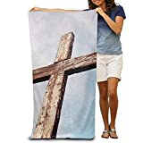 raikay Old Rugged Cross Christian Stock Custom Made 100% Polyester Soft Beach Towel(31'' 51''), Quick Dry Super Absorbent Beach Towel For Men Or Women