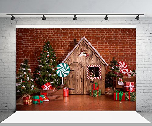 (Laeacco 10x6.5ft Vinyl Backdrop Photography Background Christmas Decoration Holiday Party Children Baby Xmas Tree Green Lollipop Candy Presents Boxes Wood House Hand Made Interior Brick Wall)