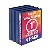 Samsill Economy 3 Ring View Binder, 1 inch Round Ring – Holds 225 Sheets, PVC-Free/Non-Stick Customizable Cover, Dark Blue, 4 Pack